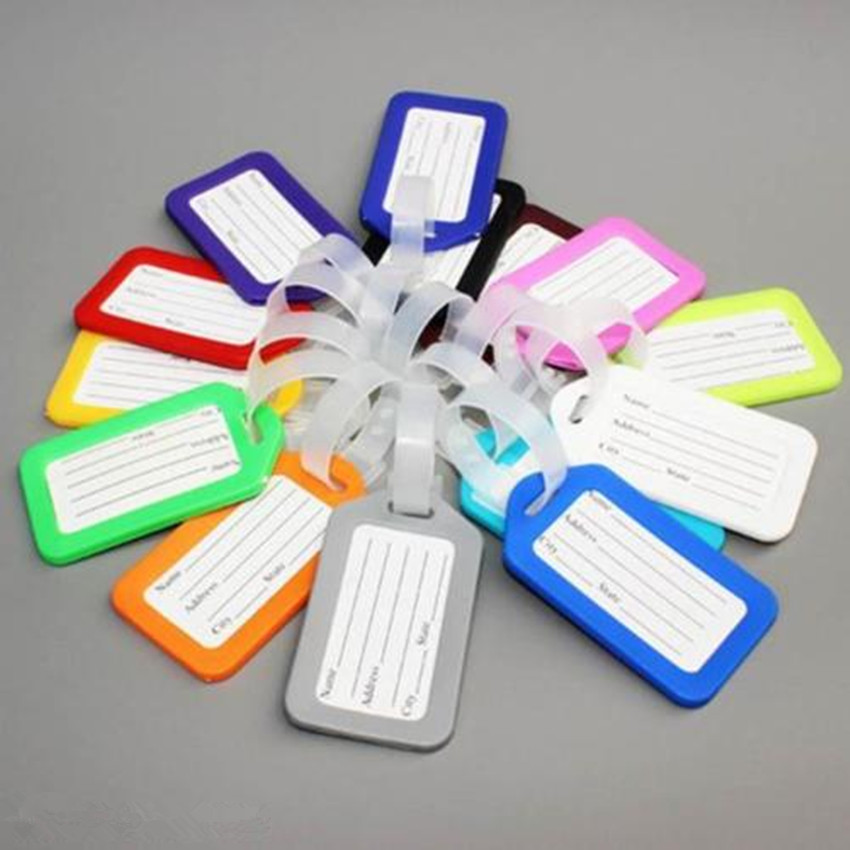 Hot 10X Travel Luggage Bag Tag Name Address ID Label Plastic Suitcase Baggage Tags