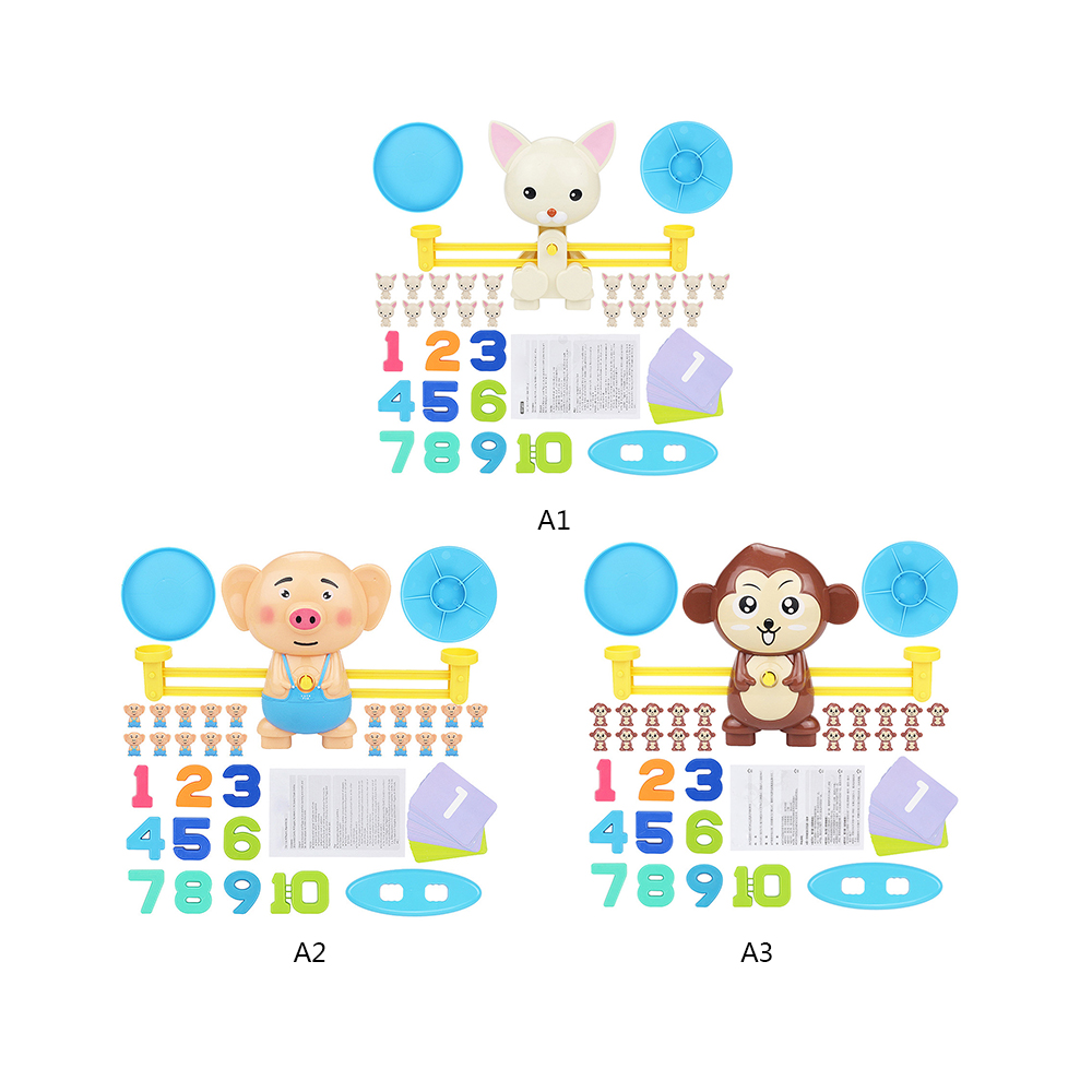 Original 1set Math Match Game Board Game Monkey Match Balancing Scale Number Balance Game Cute Cartoon Children Early Educational Toy Toys & Hobbies