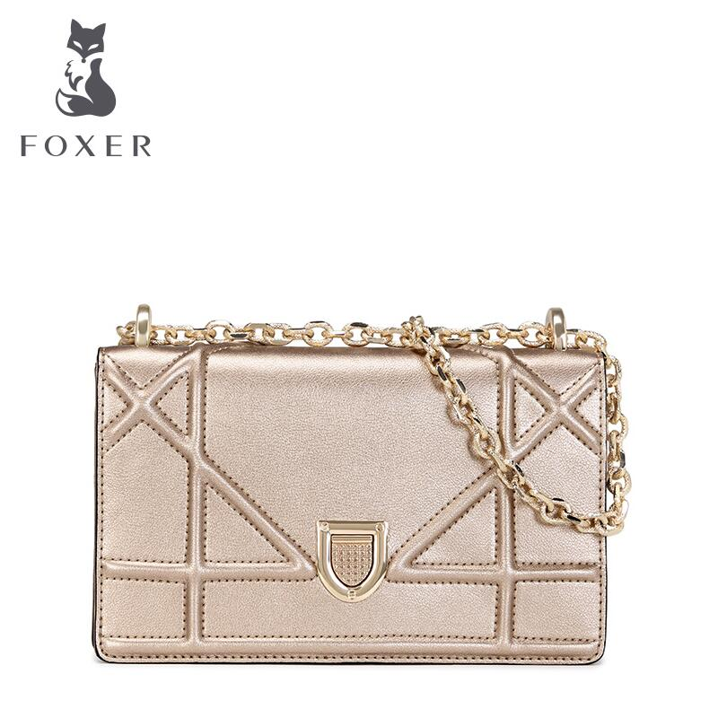 ФОТО  FOXER women leather bag famous brands  fashion geometric woven chain women leather shoulder messenger bag cowhide small bag