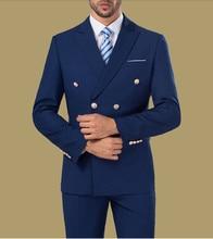Cheap Double breasted Formal Suits Blue Burgundy White Mens Suits 3 Pieces Groomsman Suit Wedding Party Suit (Jacket+Pants+vest)