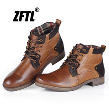 ZFTL New Men Martins Boots Genuine Leather Casual Snow Boots men's high-top cow leather boots Handmade boots Big Size male   011 цены онлайн