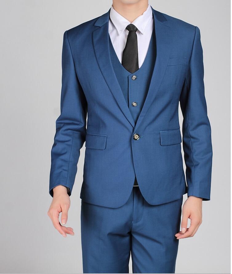 Los hombres baratos trajes de la marina de guerra Slim Fit Tuxedos - Ropa de hombre - foto 4