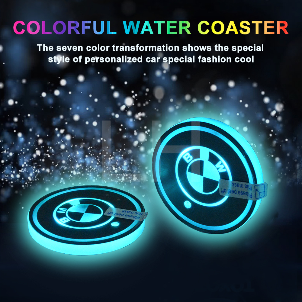 2 pieces/lot LED DESIGN Cup Coaster Slot Pad R Design Mat Protective Pad PVC for BMW
