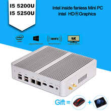 Factory price Wintel Pro win7 Barebone Mini PC Mini PC 4k 4th 5th Gen Core I5 4258u/5200u Skylake Mini PC Kodi Windows 8.1/10