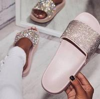 Luxury Bling Bling Crystal Women Slippers Flat Outdoor Casual Gold Pink Black Sliver Rhinestone Fashion Women Slides Real Photo
