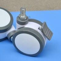 125mm meubels caster Medische bed Volledige plastic schroef universele caster swivel Medische Apparatuur wiel met rem