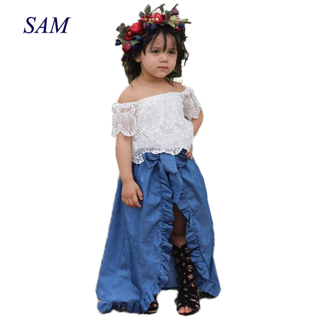 46b07b834299 3PCS Baby Girl Clothes Sets Lace Off-Shoulder T-shirt Tops Skirts Shorts  Bowknot Denim Summer Party Clothes Set Child 1-6T