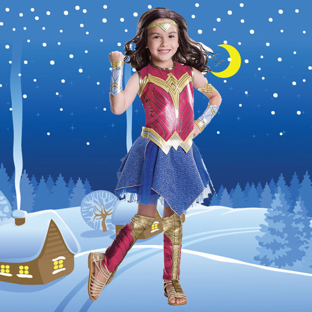 Wonder Woman Cosplay Halloween Superhero Girls Costume Deluxe Child Dawn Of Justice Princess Diana Fancy Dress Skirt New
