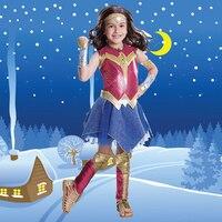 2017 New Wonder Woman Cosplay Halloween Costume Deluxe Child Dawn Of Justice Superhero Girls Princess