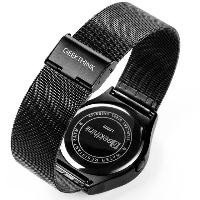 GEEKTHINK Quartz Watches Men Top Luxury Brand Casual Stainless steel Mesh Band Unisex Watch Clock Male female Gentleman gift 4