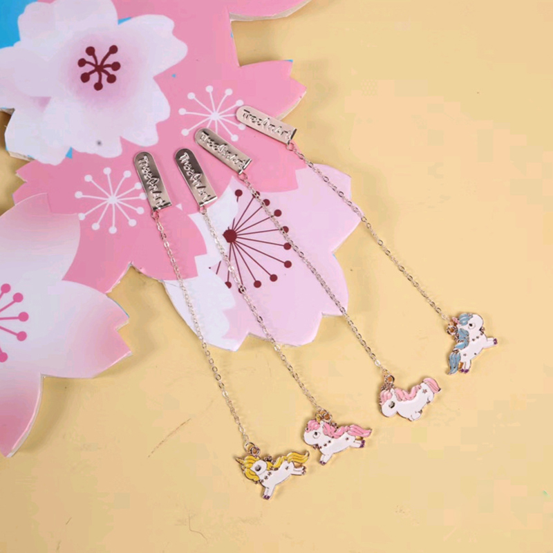 Kawaii Unicorn Metal Chain Pendant Bookmark Marker Of Page School Office Supply Student Stationery Kids Gift