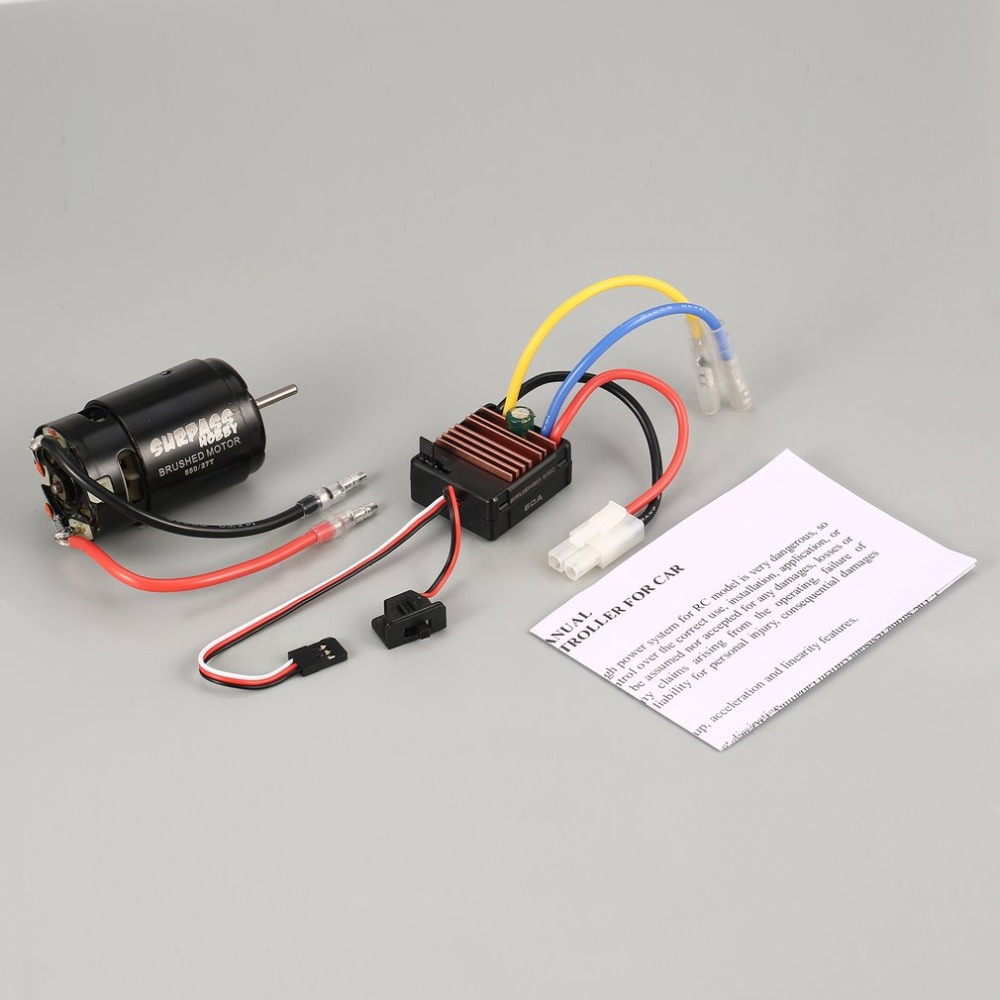 Surpass Hobby 550 27/35T Brushed Motor 60A ESC with 5V/2A BEC for 1/10 RC Crawler HSP HPI Kyosho TRAXXAS Off-road Climbing Car