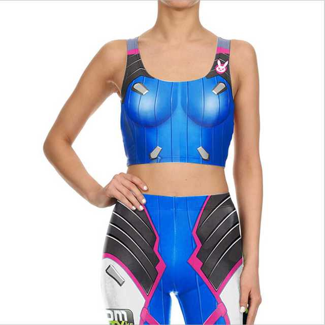73711c5e32e96 Game OW Sexy D.VA Cosplay Costume Slim Games Tops and Pants 3d Print Leggings  Over DVA Clothing Cusual Summer Tight Bodysuit