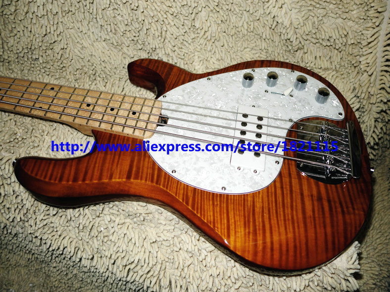 bass guitars new brown flame music man stingray 5 electric bass free shipping in guitar from. Black Bedroom Furniture Sets. Home Design Ideas