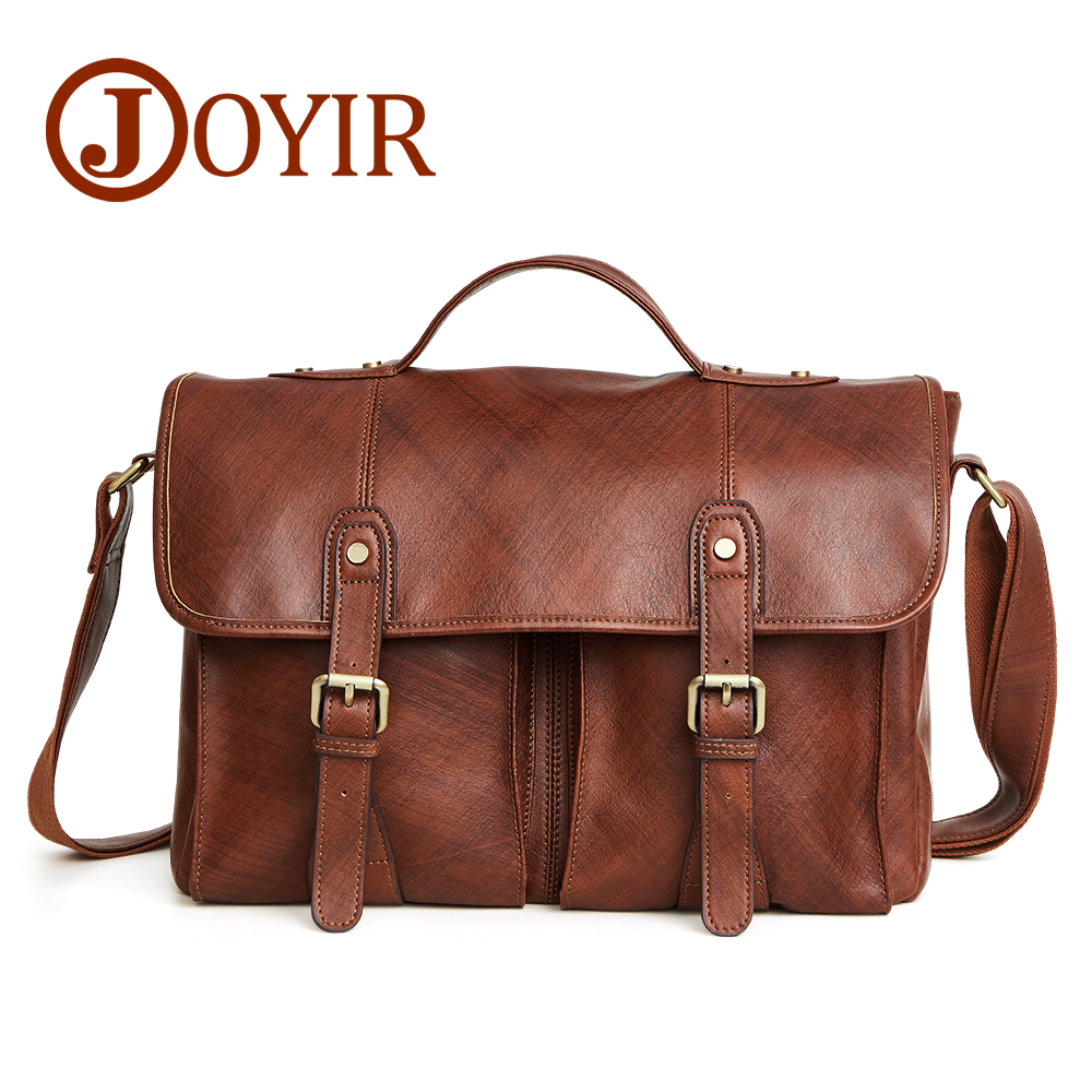 "JOYIR Genuine Leather Business Briefcase Leather Man 14"" Laptop Handbags Office Bags for Mens Fashion Messenger Crossbody Bag"