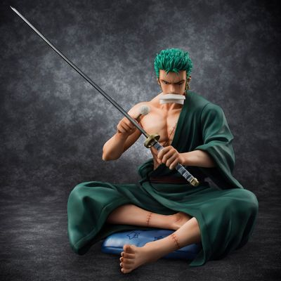 5 Inch Sitting Roronoa Zoro Figure Toy One Piece Zoro With Sword 13cm Anime Model Toy for Collection one piece action figure roronoa zoro led light figuarts zero model toy 200mm pvc toy one piece anime zoro figurine diorama