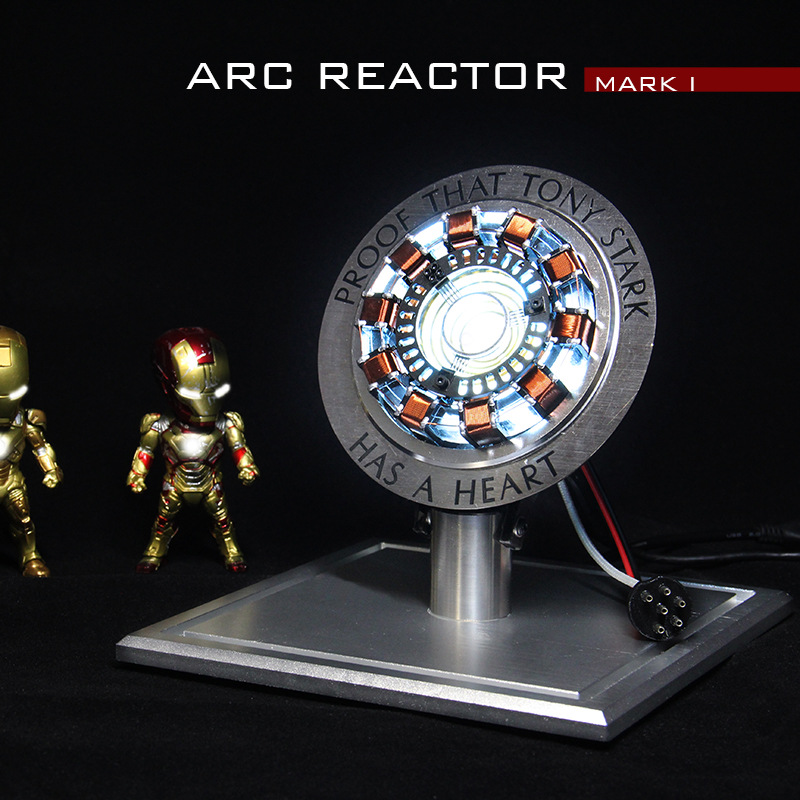 Avengers Iron Man Arc Reactor Marvel Action Figure MK1 Ironman Reactor Tony Stark Arc Reactor DIY Parts Model Toy With LED Light