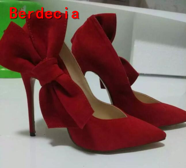 ФОТО newest big butterfly-knot decorations high heel shoes sexy pointed toe red pumps for woman slip-on stiletto heels