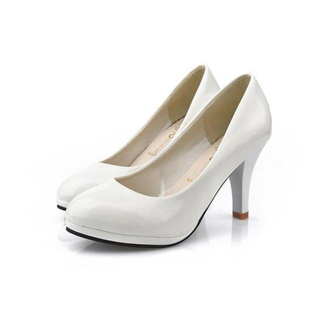 Shoes Women 2016 New Women Shoes 3 Color Black White Red color PU Thin Heels Pumps Profession Pumps  BAOK-780e
