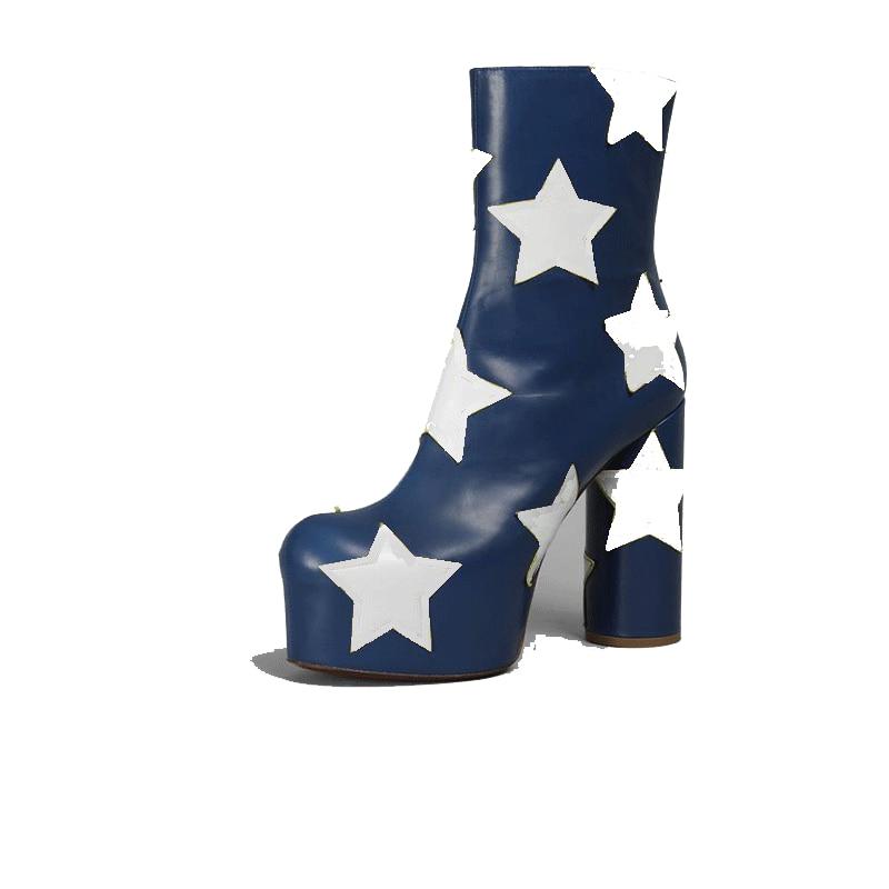 Zapatos Diseñador Del Lujo Shown Calidad Mujeres Grueso Botas Extremo Estrella Shown Marca Cortas as As Plataforma Alto Tobillo Tacón De Las Blanca Alta w4nxIvtCX