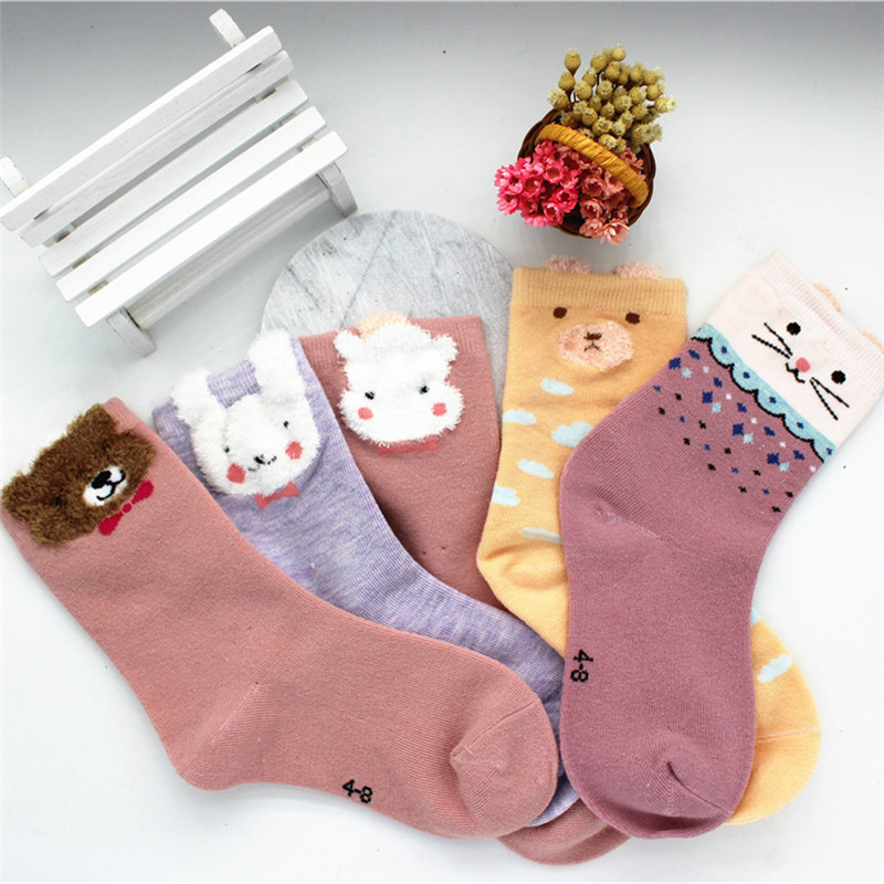 1Pair Kids Designer Soft Socks Boy&Girls Children's Socks  Fox Dog Cat 3D Casual Socks Kawaii Kids Socks Gift For Your Baby