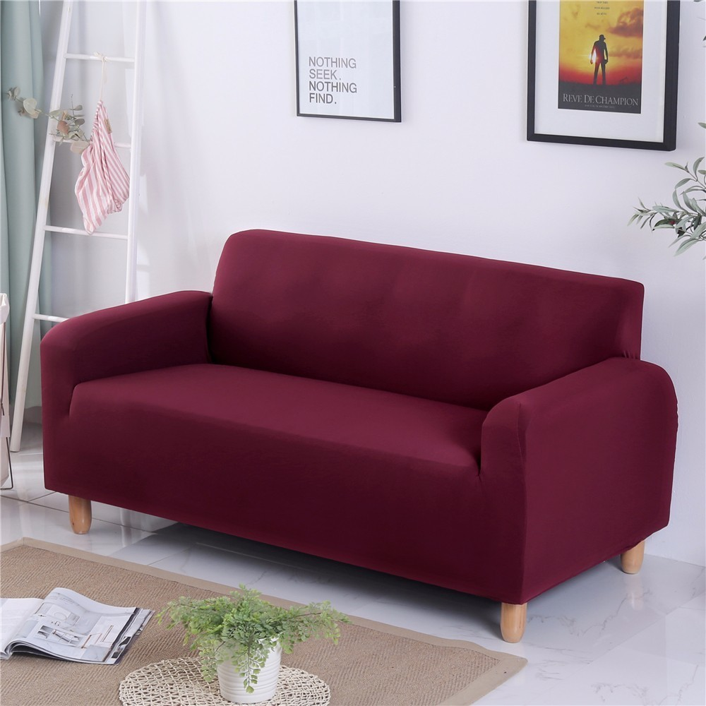Solid Color Elastic Slipcovers Slip Resistant Stretch