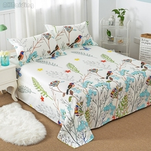 Hot Sale Floral Birds Bed Sheet 100% Cotton Mattress Protector Cover Flat Sheet 1pcs Soft bedclothes Twin Full Queen King Size