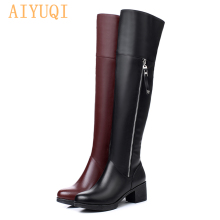 AIYUQI Women Over knee boots Genuine Leather Shoes thick Warm Winter long Boots Fashion High Heel Motorcycle