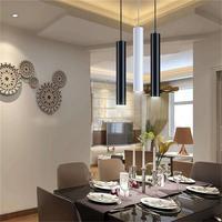 1pcs Modern Minimalist Cafe Chandeliers Led Restaurant COB Spotlights Long Tube Hanging Lamp Bar Table