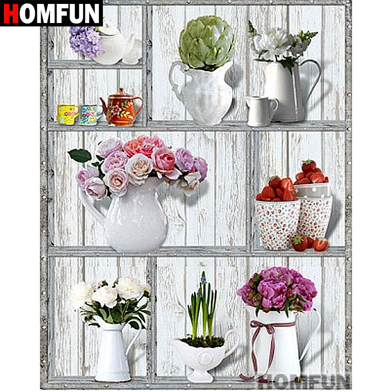 HOMFUN Full SquareRound Drill 5D DIY Diamond Painting Flower & shelf Embroidery Cross Stitch 5D Home Decor Gift A07279