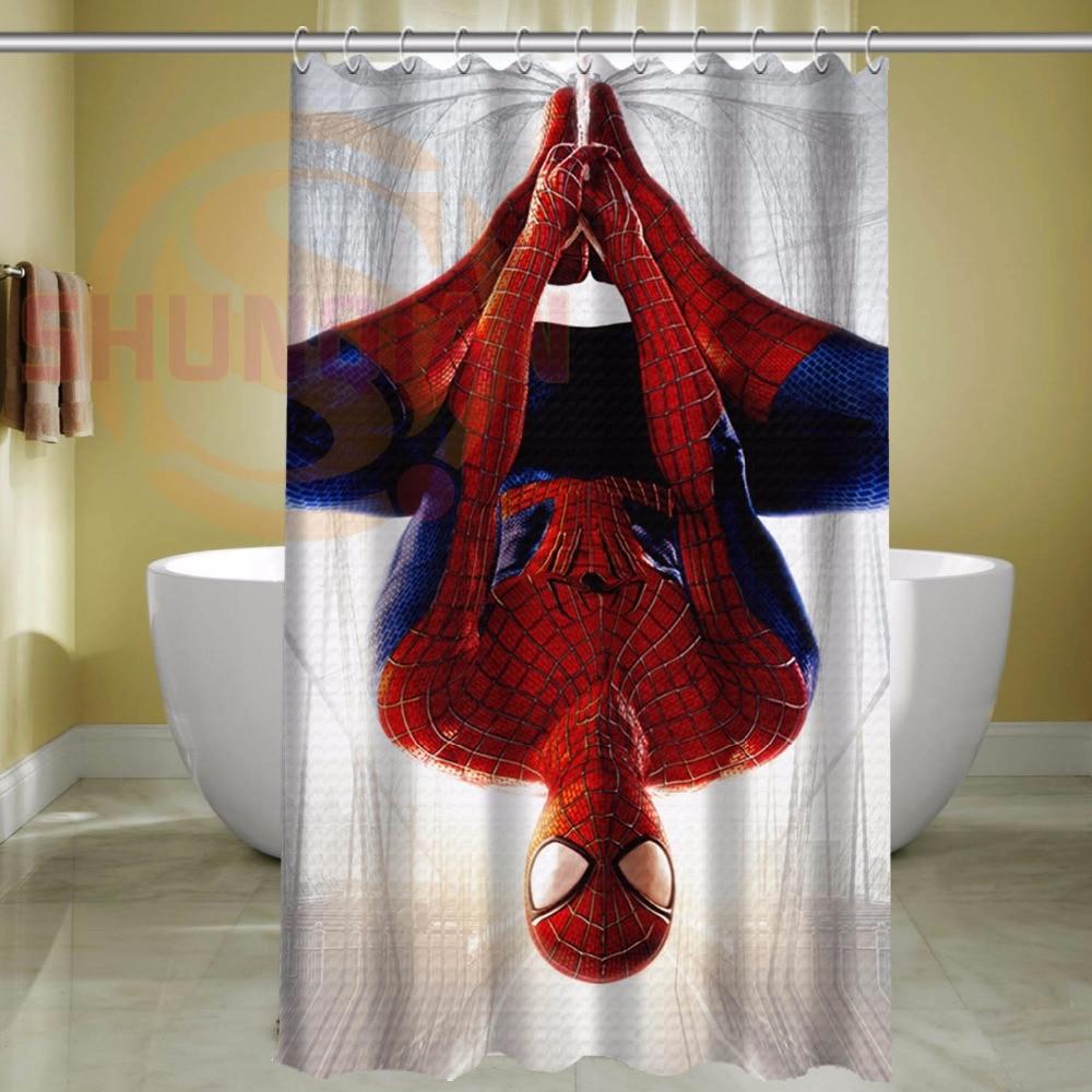 Custom Spider Man Waterproof Polyester Fabric Bathroom
