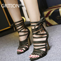 GRITION Sexy Women Shoes High Heels Ladies pumps Gladiator Sandals Women Black Brown Green Zapatos Mujer