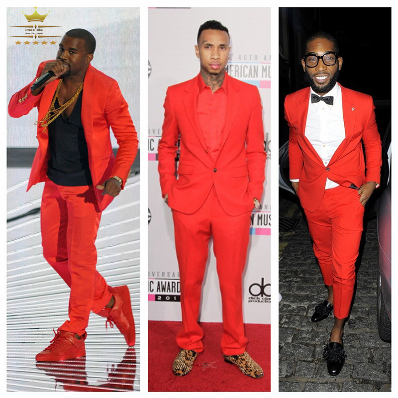 Red Mens Tuxedos Custom Made Slim Fit Men Suit With Pants Grooms ...