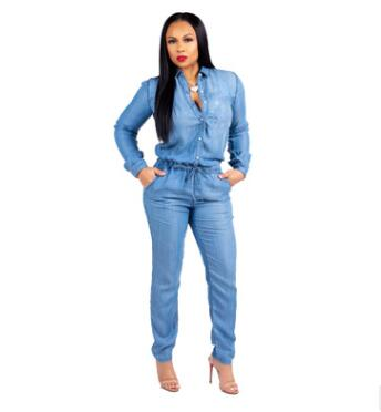 2018 New Fashion Women Belt Jeans Solid Color Long Siamese trousers Male leisure Plus Size jumpsuits Middle Waist Clothing Price $41.69
