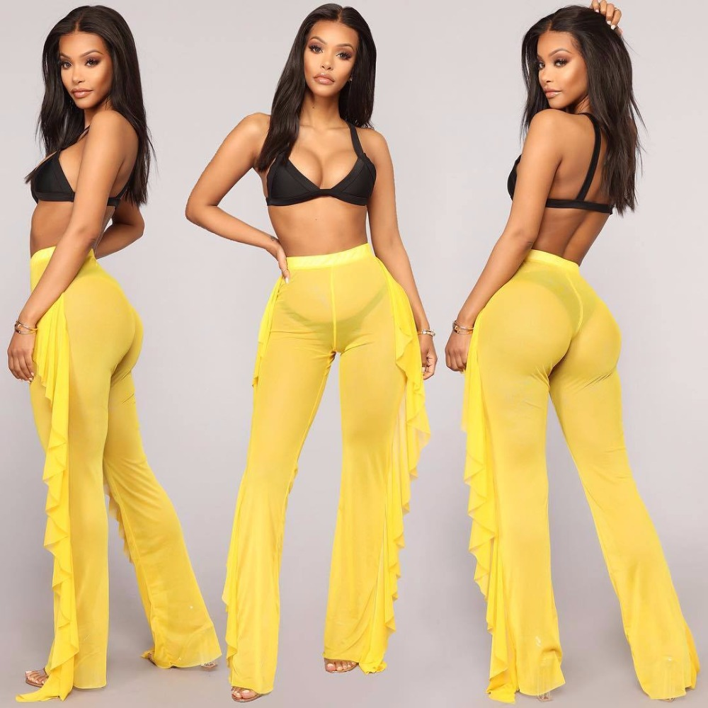 New Sexy Ruffle Women Beach Mesh Pants Sheer Wide Leg Pants Transparent See through Sea Holiday Cover Up Bikini Trouser Pantalon Платье