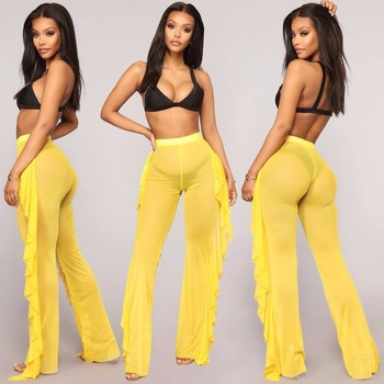 7dc42316d4c New Sexy Ruffle Women Beach Mesh Pants Sheer Wide Leg Pants Transparent See  through Sea Holiday