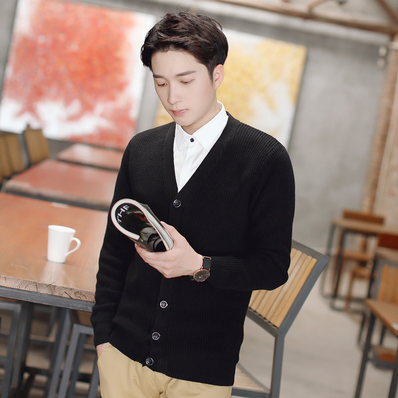 Brilliant Casual Pure Cotton Sweater Long Sleeve For Men Korean Style Slim Fashion Sweater Knitted V-neck Mens Designer Sweater