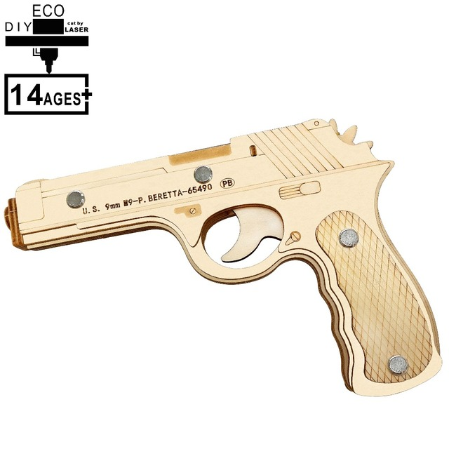 3D Wooden Puzzle Toys Shooting Toy Gun Boys Adult Outdoor Fun Sports Montessori Educational Creativity Crafts Beretta M9