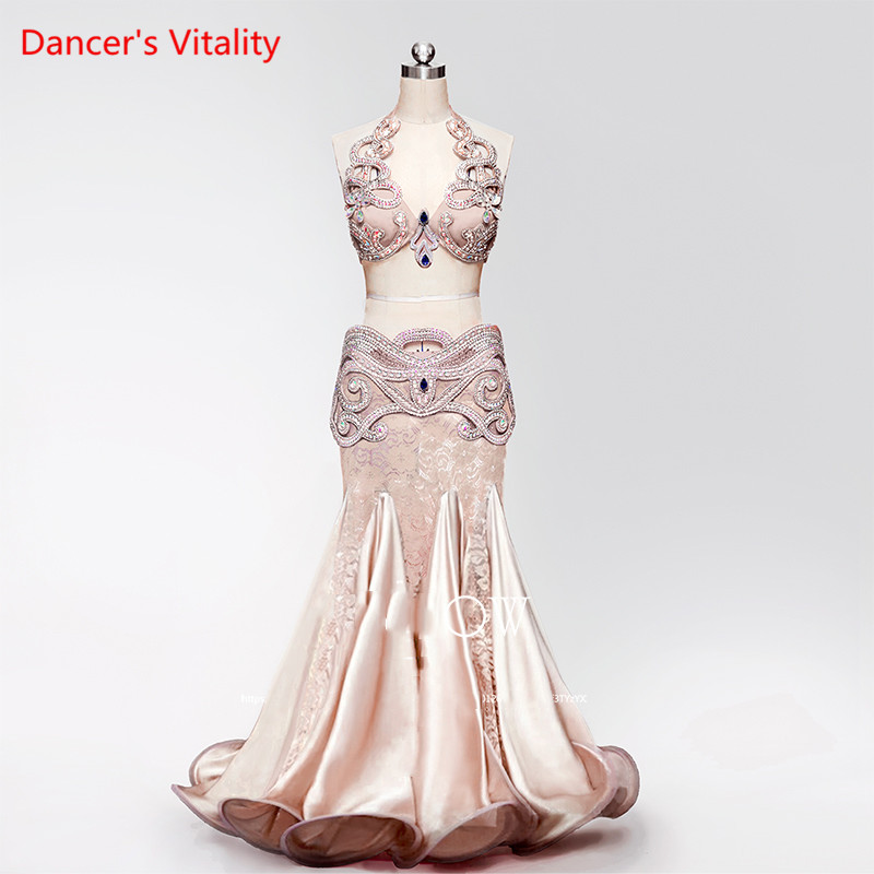 Personal Tailor Luxury Belly Dance Suits Women Stage Performance Clothes All match Champagne Bra Girdle Fishtail Skirt 3pcs Suit