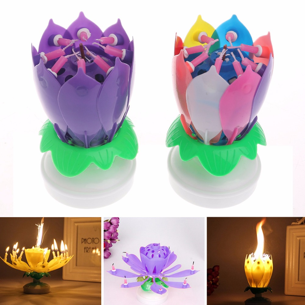 Cake Topper Blossom Lotus Flower Candles Musical Rotating Party Birthday Decor