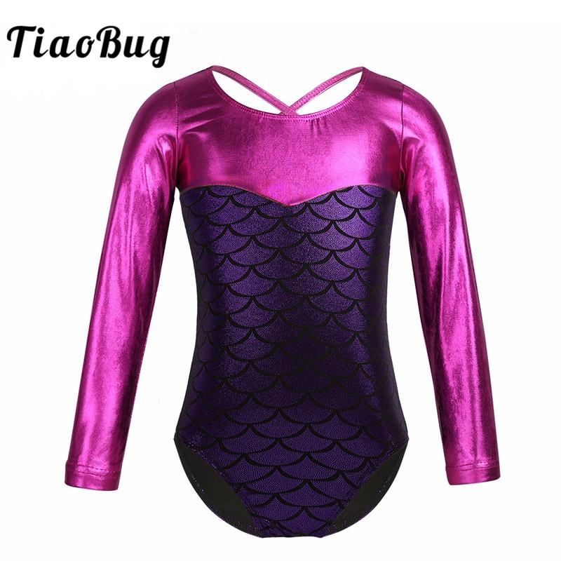 TiaoBug Kids Long Sleeve Shiny Mermaid Scale Printed Splice Ballet Leotard Girls Gymnastics Leotard Bodysuit Ballerina Dancewear