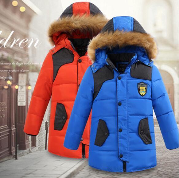 -30 degree children's winter jackets cotton-padded children's clothing 2016 big boys warm winter down coat thickening outerwear