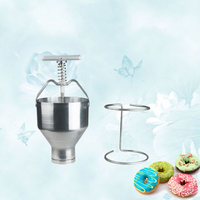 Stainless Steel Mini Manual Donut Maker Machine Cake Donut Hopper With Stand Commercial Household Donut Molding