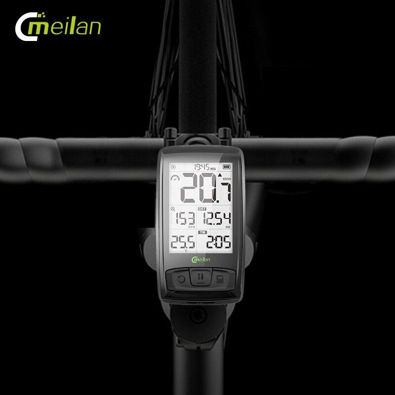 Velocímetro inalámbrico de bicicleta Meilan M4 y S1 luces traseras tacómetro Monitor de ritmo cardíaco Sensor de velocidad de cadencia cronómetro impermeable - 2