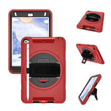 For iPad Mini 5 / 4 Case with Pencil Holder PC and TPU Back Cover with 360 Degree Rotation Hand Strap and Stand-Miesherk Red m07 360 degree rotation bracket w c61 back clamp for samsung i9200 ipad mini black