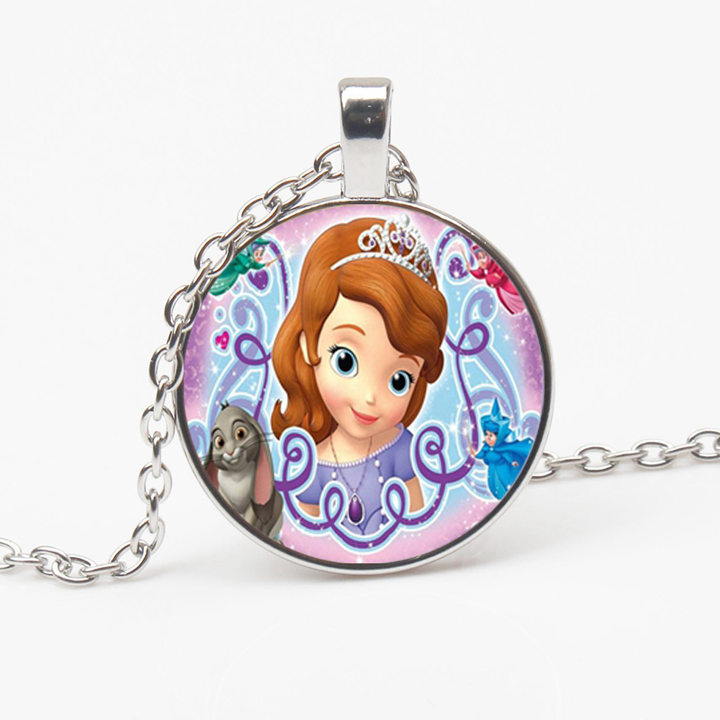 New Anime Sophia First Necklace and sister Princess Pendant Collar Glass Dome Crystal Children Jewelry Party Gift