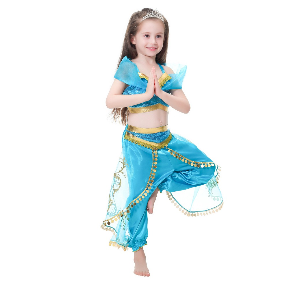 Girls Jasmine Princess Dress Costume Cosplay For Children Halloween Party Aladdin's Lamp Cosplay Indian Princess Dance Dress