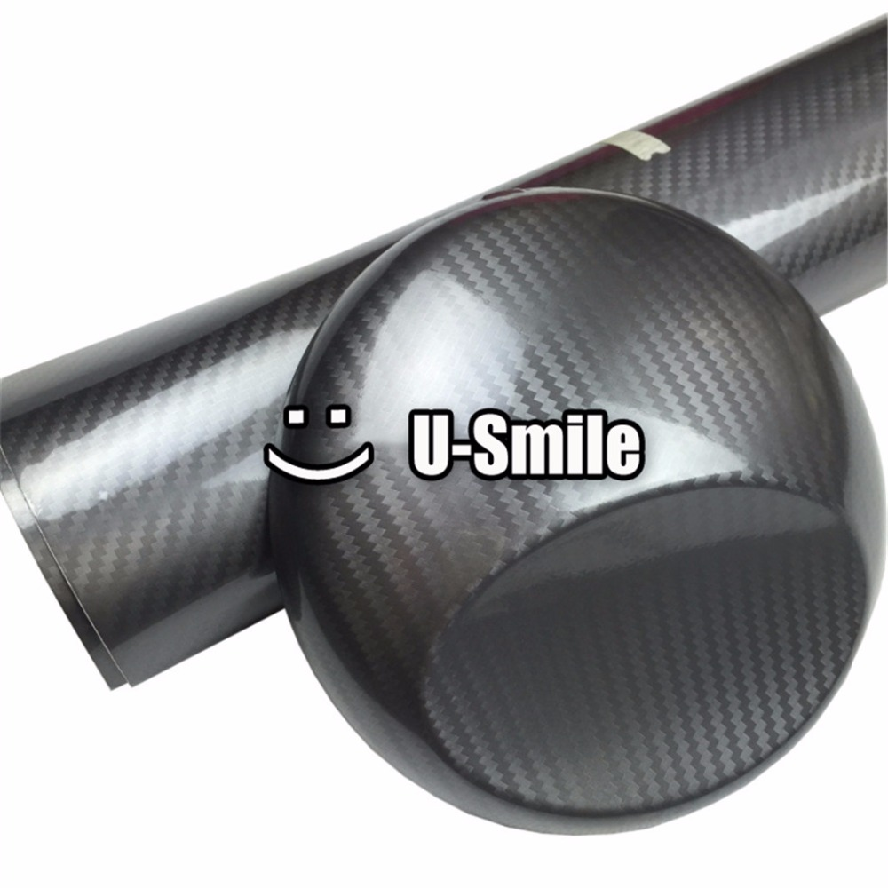 5D Top Grade Shinny Gloss Grey Carbon Fiber Vinyl Wrap Sticker Decal Bubble Free Car Wrapping Size:1.52X20M/Roll best top selling new stylish decal carbon fiber skin sticker for xbox one console