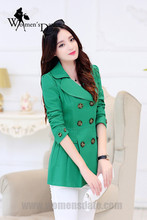 WomensDate 2016 New Fashion Autumn Women Trench Coat Slim Short Trench Coat Long-sleeved Double-breasted Green Trench Coat