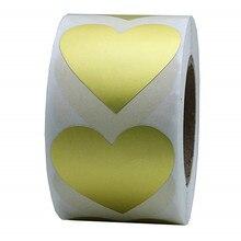 Золотое любовное сердце наклейки натуральные бумажные этикетки 1 дюйм клейкая этикетка для упаковки и свадебного украшения наклейки 500 в рулоне